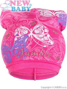 Jarní dětská čepička New Baby motýlci tmavě růžová