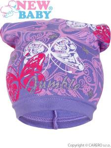 Jarní dětská čepička New Baby motýlci fialová