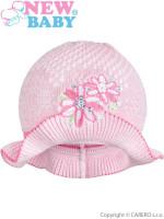 Pletený klobouček New Baby růžovo-růžový