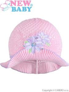 Pletený klobouček New Baby růžovo-fialový