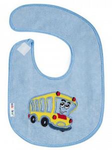 Dětský froté bryndák Akuku modrý s autobusem