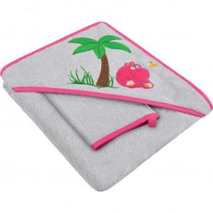 Dětská osuška s žínkou a kapucí 80x80 Akuku šedo-růžová s hrošíkem