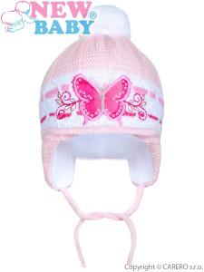 Zimní dětská čepička New Baby motýlek světle růžová