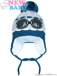 Zimní dětská čepička New Baby brýle šedá