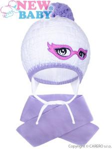 Zimní dětská pletená čepička se šálou New Baby fialová