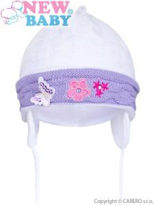 Pletená dětská čepička New Baby bílo-fialová
