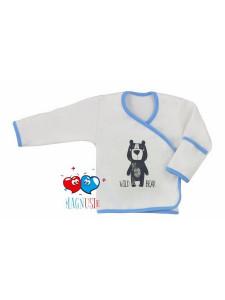 Kojenecká košilka Koala Magnetky Wild Bear bílo-modrá