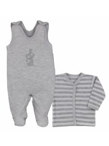 2-dílná bavlněná kojenecká soupravička Bobas Fashion Stříbrná Kočka šedá