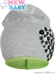 Jarní čepička New Baby srdíčko šedo-zelená