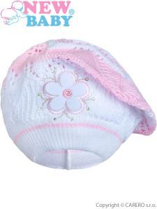 Pletená čepička-baret New Baby světle růžová