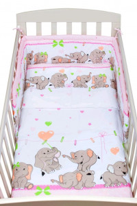 3-dílné ložní povlečení New Baby 90/120 cm růžové se sloníky
