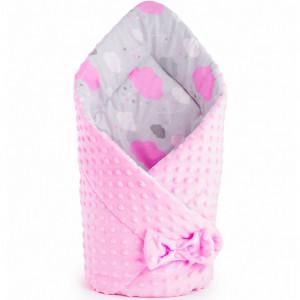 Oboustranná Zavinovačka z Minky New Baby 75x75 cm obláček růžová