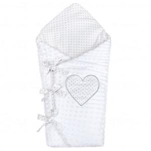 Luxusní šněrovací zavinovačka z Minky New Baby bílá 75x75 cm