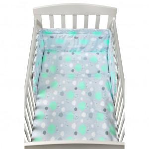 3-dílné ložní povlečení New Baby 90/120 cm obláčky mátové