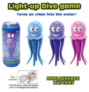 Potápěcí chobotnice se světlem v plechovce