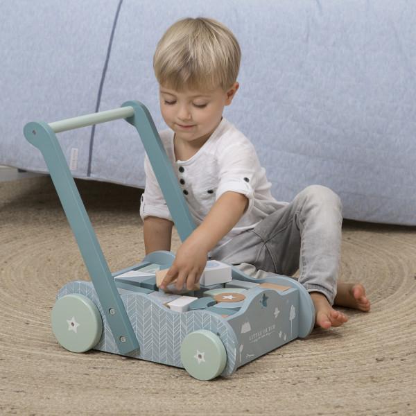 Vozíček s kostkami modrá