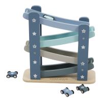 Dřevěná autodráha s autíčky modrá