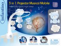 Hudební kolotoč s projekcí 3v1 modrý