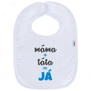 Kojenecký bavlněný bryndák New Baby máma+táta=JÁ modrý