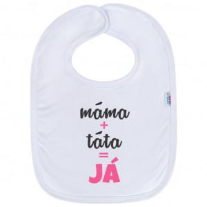 Kojenecký bavlněný bryndák New Baby máma+táta=JÁ růžový