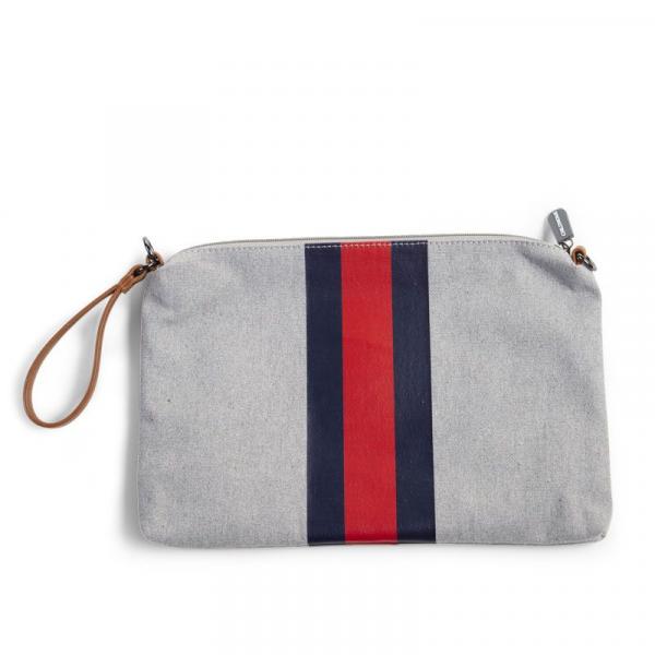 Pouzdro na zip s poutkem Grey Stripes Red/Blue