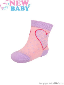 Kojenecké ponožky New Baby s ABS růžovo-fialové se srdíčkem