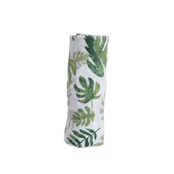 Mušelínová zavinovací plena 120x120cm Tropical Leaf