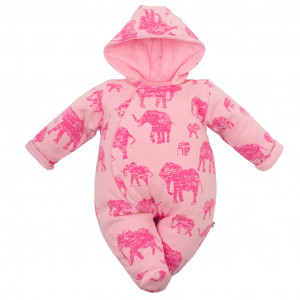 Zateplená kojenecká kombinéza s kapucí Baby Service Sloni růžová