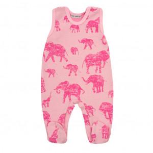Zimní kojenecké dupačky Baby Service Sloni růžové