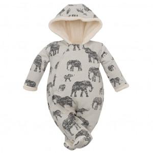Zimní kojenecká kombinéza s kapucí Baby Service Sloni šedá