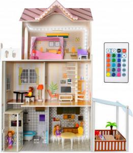 Velký dřevěný domeček pro panenky, 120 cm vysoký