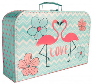 Kufřík Plameňáci růžovo/modrý 35 cm