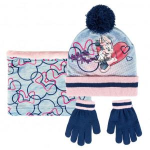 Sada nákrčník, rukavice, čepice s bambulí - Disney Minnie