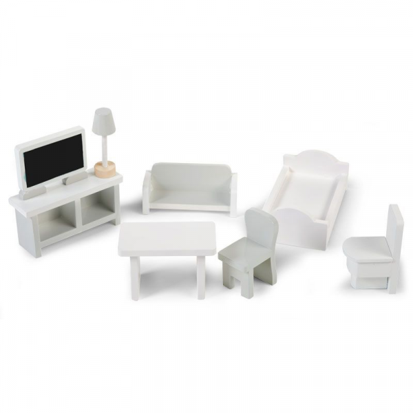Mini nábytek dřevěný 8 ks