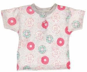 MBaby Bavlněné Polo tričko s krátkým rukávem Donuty - šedé