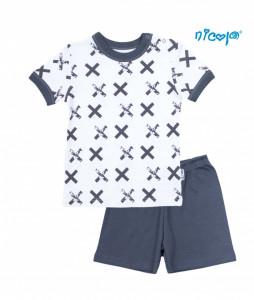Dětské pyžamo krátké Nicol, Rhino - bílé/grafit, vel.122