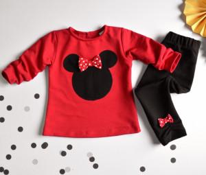 K-Baby Sada triko/mikinka + legíny Minnie - černá/červená, vel. 80