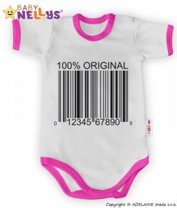 Baby Nellys Body krátký rukáv 100% Originál - šedé/růžový lem