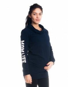 Be MaaMaa Těhotenské a kojící triko/mikina Mom Life, dl. rukáv, granátové