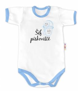 Baby Nellys Body krátký rukáv - Šéf pískoviště - bílé/modrý lem, vel. 74